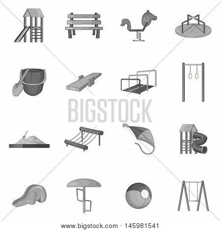 Children playground icons set in black monochrome style. Kids playground elements set collection vector illustration