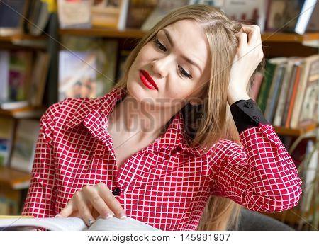 Girl Student For Books, Doing Homework, Preparing For Exams,
