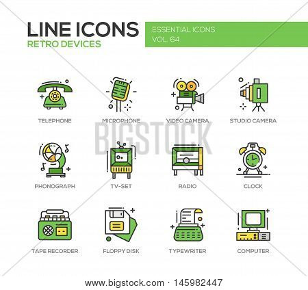 Retro devices - set of modern vector line design icons and pictograms. elephone, microphone, video, studio camera, phonograph, tv-set, radio, clock, tape recorder, floppy disk, typewriter computer