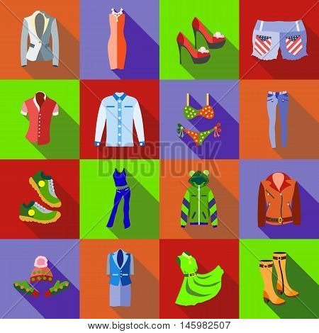 Woman clothes icons set in flat style. Kids playground elements set collection vector illustration