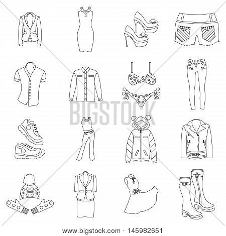 Woman clothes icons set in outline style. Woman wear set collection vector illustration