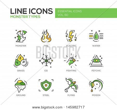 Monsters types - set of modern vector line design icons and pictograms. Fire, electric, water, grass, ice, fighting, psychic, ground steel flying poison
