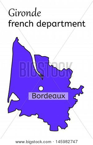 Gironde french department map on white in vector