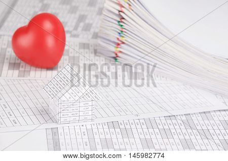 House Have Blur Red Heart And Pile Paperwork As Background