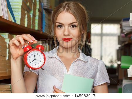 The Girl In The Library With Books In Hand Alarm Clock, Time To Learn, Time Education