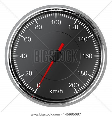 Car speedometer with arrow at zero. 3d illustration isolated on a white background.