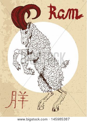 Chinese zodiac symbol of hand drawn Ram or Goat with lettering. Horoscope and astrological vector sign of asian new year calendar. Graphic drawing with engraved animal. Chinese hieroglyph means Ram