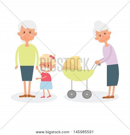 Happy grandmother with grandchildren. Cute Senior woman with granddaughter. Vector Illustration of happy retirement grandparents