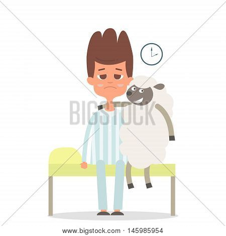 Sleepless concept with man and sheep on the bad. sheep hugging man. Vector illustration