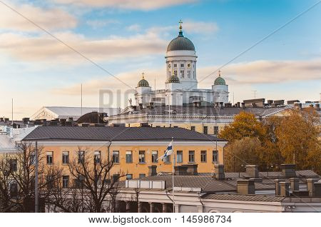 View of Cathedral St Nicholas Church over roofs from viewpoint of Katajanokka Helsinki Finland