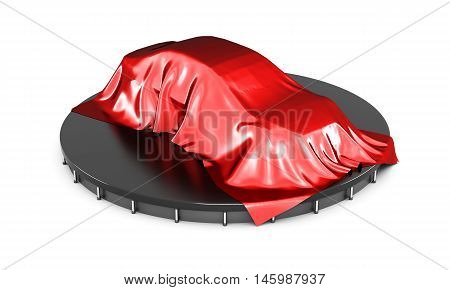 Presentation Of The Car Covered With Red Satin Cloth. 3D Rendering. Digital Illustration
