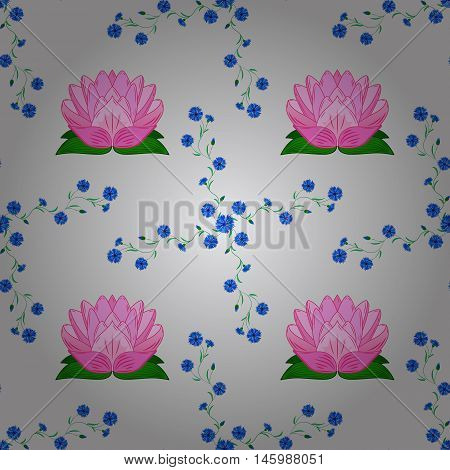 rosy lotus lilies decorative floral element on light background. vector illustration