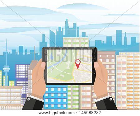 Cartoon hand holds smartphone or tablet pc with navigation app against cityscape in day. Navigation concept. Flat design. Vector illustration.