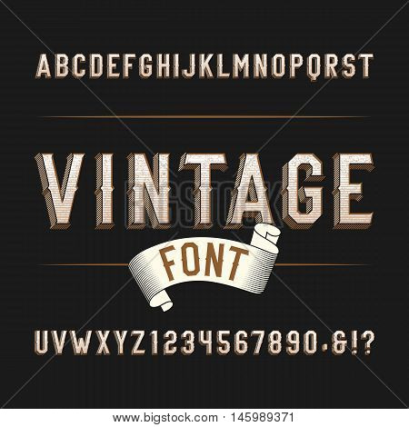 Vintage wild west alphabet font. Distressed effect letters and numbers on a dark background. Retro vector typeface for labels, flyers, headlines, posters etc.