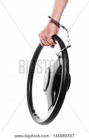 Man With Steering Wheel And Handcuffs