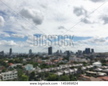Blurred city or buildings background or wallpaper. city blur background. Blur view of Bangkok city skyline for background.