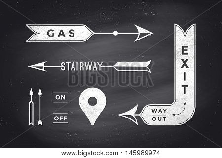 Set of vintage arrows and banners with text Exit, Way Out, Gas, Stairway. Design elements of set arrow for navigation. Retro style arrow on black chalkboard background. Vector Illustration