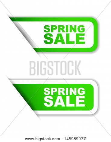 This is green vector paper sticker spring sale ( two variant)