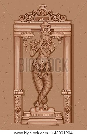 Vector design of Vintage statue of Indian Lord Krishna sculpture one of avatar from the Dashavatara of Vishnu engraved on stone