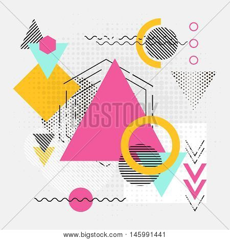 Abstract geometric shapes background. Modern backgdrop with lines, arrows and triangles chaos polygonal patterns. Vector illustration