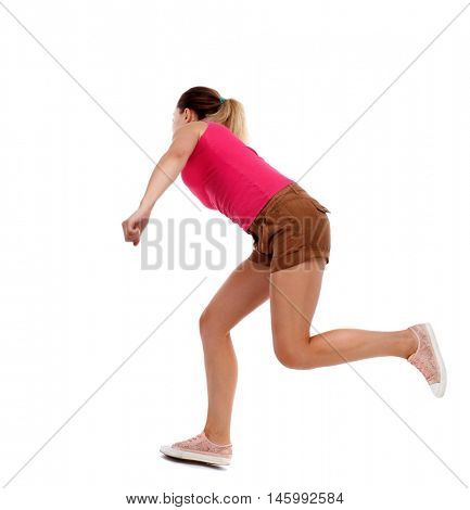 side view woman start position. Rear view people collection. Isolated over white background. Sport blond in brown shorts runs past.