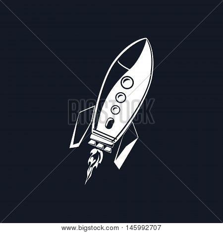 Rocket, White Spaceship Isolated on BLack Background ,Vector Illustration