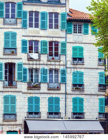 Colorful Shutters Of Typical Old Homes, Bayonne