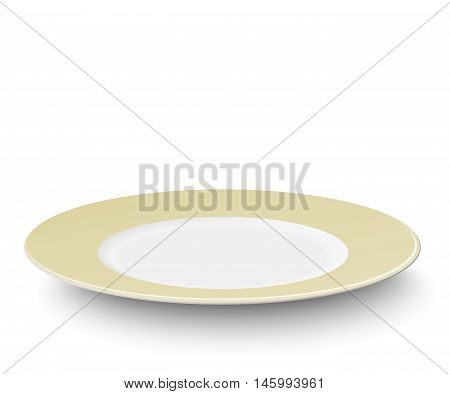 Empty plate with ivory-colored design isolated on white