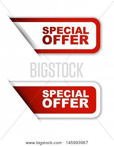 This is red vector paper sticker special offer (two variant)
