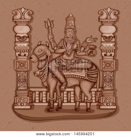 Vector design of Vintage statue of Indian Goddess Maha Gauri sculpture one of avatar from Navadurga engraved on stone