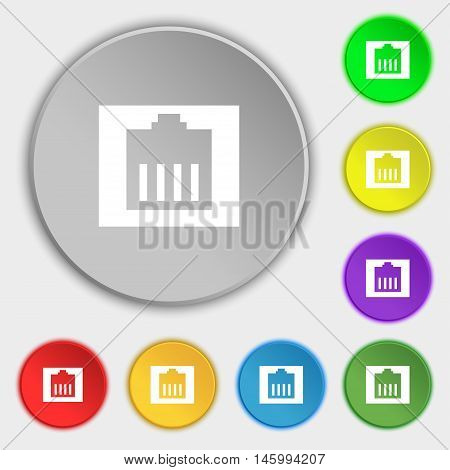 Internet Cable, Rj-45 Icon Sign. Symbol On Eight Flat Buttons. Vector
