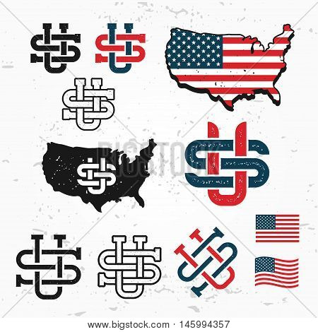 Made in USA monogram vector set. Vintage America logo design. Retro United States seal. US label illustration. Map graphic