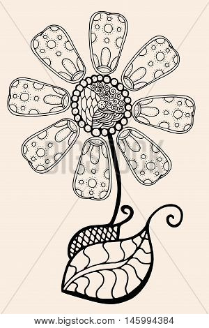 Hand Drawn Sketch of abstract flower. Vector illustration, Black beige color