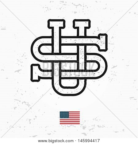 Made in USA monogram vector. Vintage America logo design. Retro United States seal. US label illustration. Hipster t-shirt graphic.