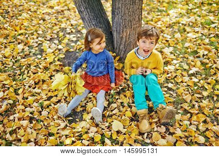 Two kids, boy and younger girl, sitting on ground under tree in park, girl gathered big bunch of golden maple leaves and looking at her brother on warm autumn day