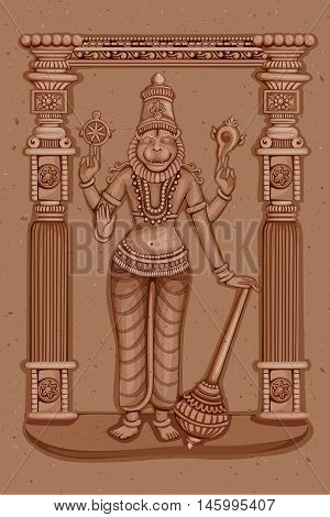 Vector design of Vintage statue of Indian Lord Narasimha sculpture one of avatar from the Dashavatara of Vishnu engraved on stone