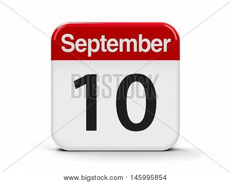 Calendar web button - The Tenth of September - World Suicide Prevention Day three-dimensional rendering 3D illustration
