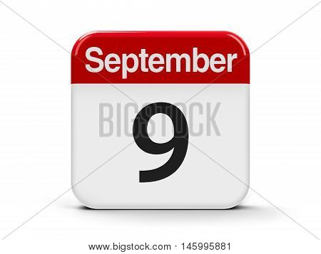 Calendar web button - The Ninth of September - International Beauty Day three-dimensional rendering 3D illustration