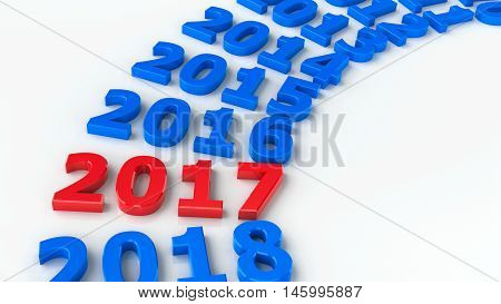 2017 past in the circle represents the new year 2017 three-dimensional rendering 3D illustration