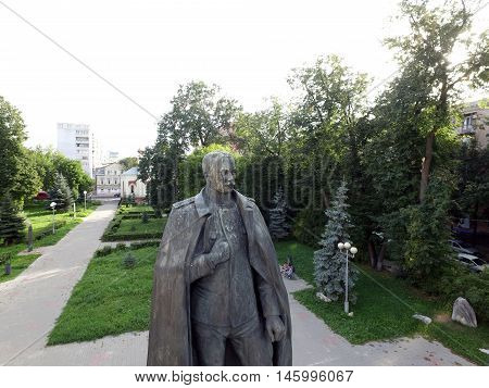 NIZHNY NOVGOROD, RUSSIA AUGUST 24, 2016: Monument Petru Nikolaevich Nesterov - a military pilot, Captain. The founder of aerobatics (Nesterov loop)