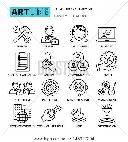 Modern editable line vector illustration set of internet company services and clients support icons for graphic and web design