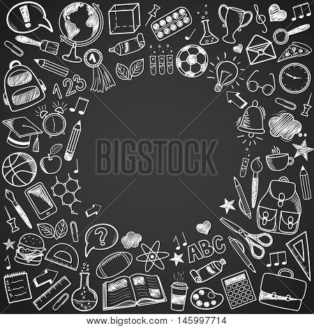 Back to School - sketch doodle set. Various hand-drawn school items arranged as frame on a background blackboard. Vector illustration