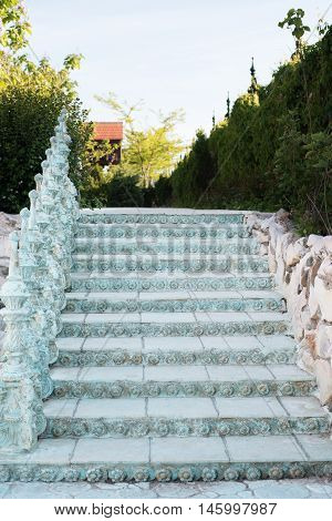 Old Baroque Stairs, Outdoors. Stairs Made Of Stone. Alley In Beautiful Garden With Flowers And Trees