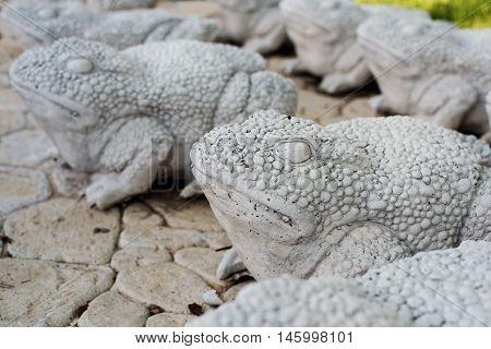 Limestone Statues Of Frogs. Stone Walkway. Frogs On Alley In Beautiful Garden With Flowers And Trees