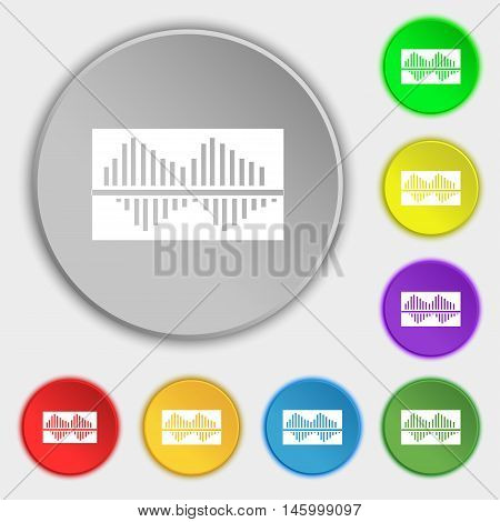 Equalizer Icon Sign. Symbol On Eight Flat Buttons. Vector