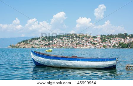 Boat In Front Of Ohrid Town,  Macedonia