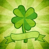 stock photo of four leaf clover  - Vector illustration of clover with four leaves and ribbon - JPG