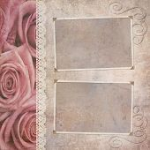 image of shabby chic  - vintage wedding frame for photo with roses border and lace - JPG