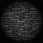BRAND. Word collage on black background. Vector illustration. Illustration with different association terms. poster