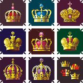 stock photo of crown jewels  - Nine crowns on color backgrounds for design - JPG